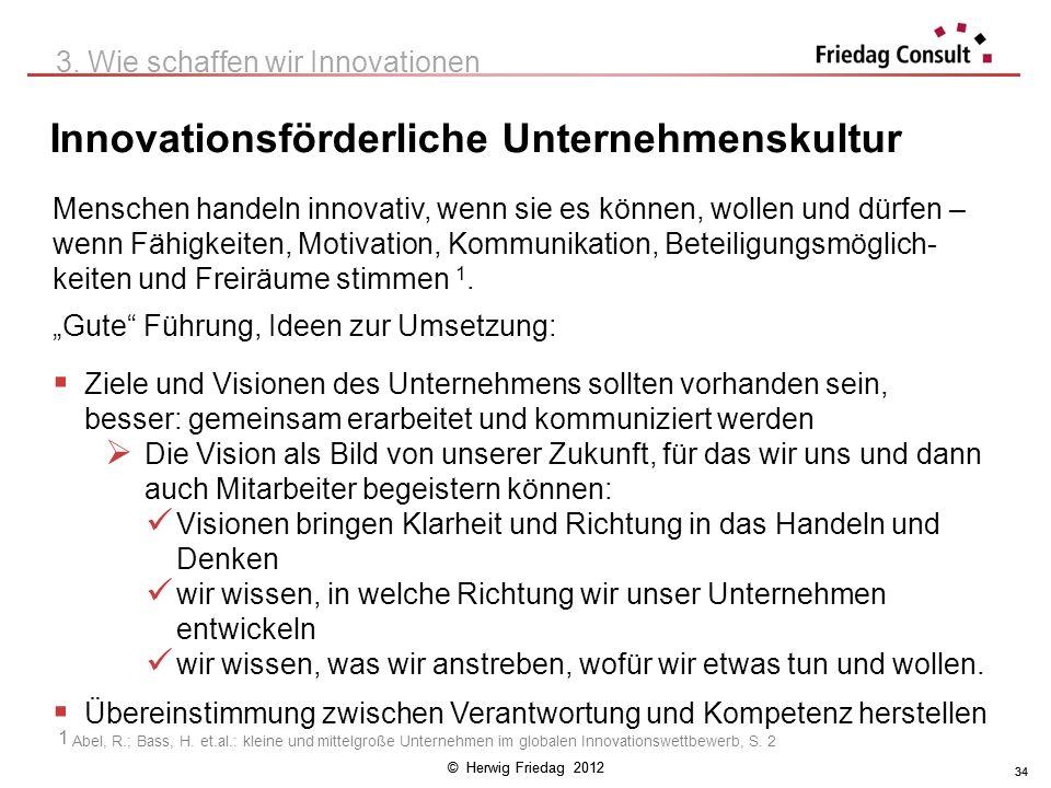 © Herwig Friedag 2012 34 Innovationsförderliche Unternehmenskultur 3. Wie schaffen wir Innovationen Gute Führung, Ideen zur Umsetzung: Ziele und Visio