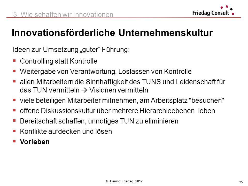 © Herwig Friedag 2012 35 Innovationsförderliche Unternehmenskultur 3. Wie schaffen wir Innovationen Ideen zur Umsetzung guter Führung: Controlling sta