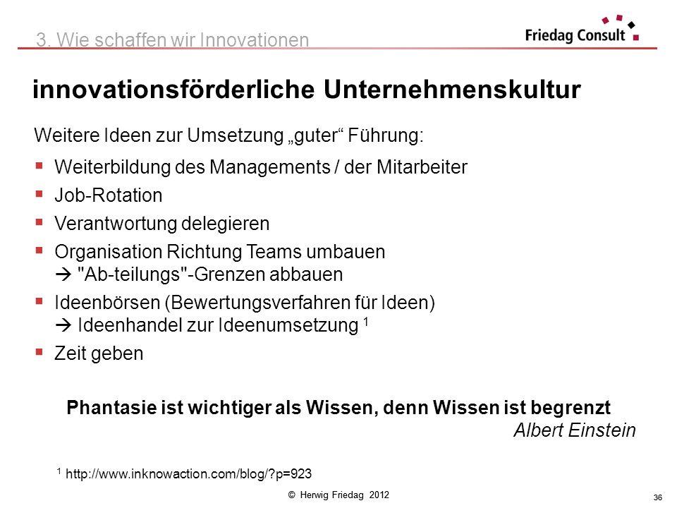 © Herwig Friedag 2012 36 innovationsförderliche Unternehmenskultur 3. Wie schaffen wir Innovationen Weitere Ideen zur Umsetzung guter Führung: Weiterb