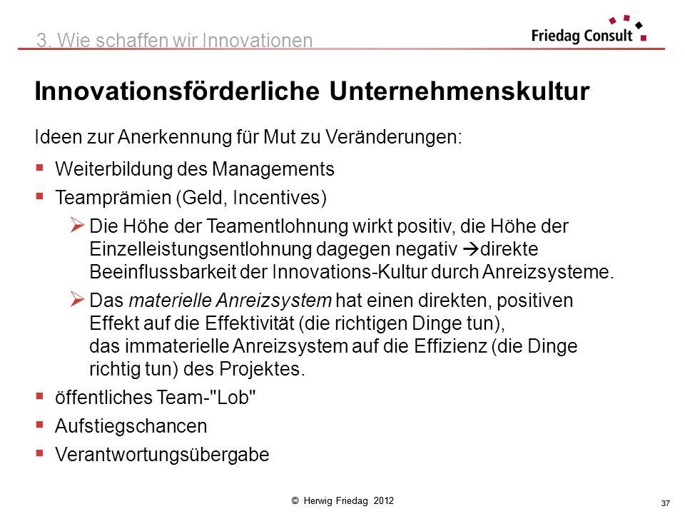 © Herwig Friedag 2012 37 Innovationsförderliche Unternehmenskultur 3. Wie schaffen wir Innovationen Ideen zur Anerkennung für Mut zu Veränderungen: We