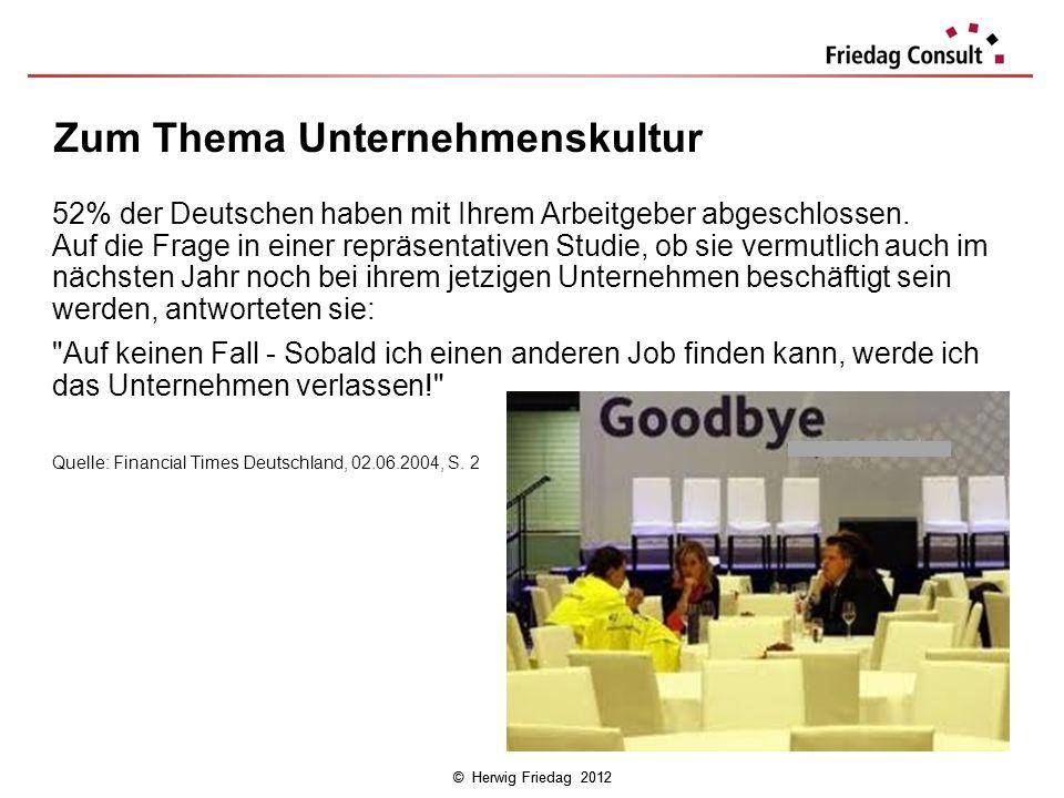 © Herwig Friedag 2012 52% der Deutschen haben mit Ihrem Arbeitgeber abgeschlossen. Auf die Frage in einer repräsentativen Studie, ob sie vermutlich au
