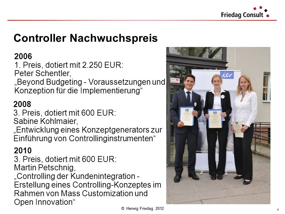 © Herwig Friedag 2012 2010 3. Preis, dotiert mit 600 EUR: Martin Petschnig, Controlling der Kundenintegration - Erstellung eines Controlling-Konzeptes