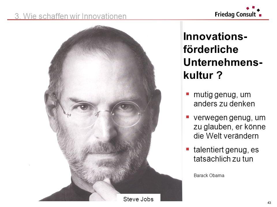 © Herwig Friedag 2012 43 Innovations- förderliche Unternehmens- kultur ? 3. Wie schaffen wir Innovationen 43 Steve Jobs mutig genug, um anders zu denk
