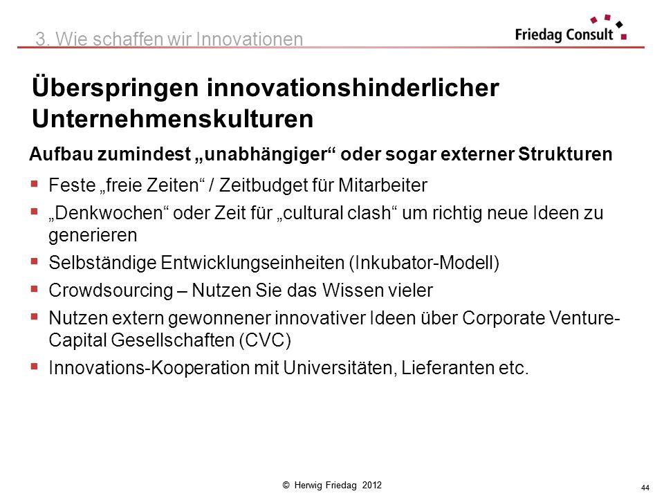 © Herwig Friedag 2012 44 Überspringen innovationshinderlicher Unternehmenskulturen 3. Wie schaffen wir Innovationen Aufbau zumindest unabhängiger oder