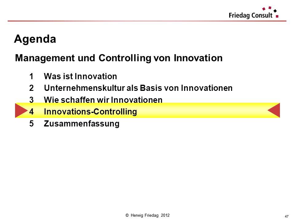 © Herwig Friedag 2012 47 Agenda 1Was ist Innovation 2Unternehmenskultur als Basis von Innovationen 3Wie schaffen wir Innovationen 4Innovations-Control
