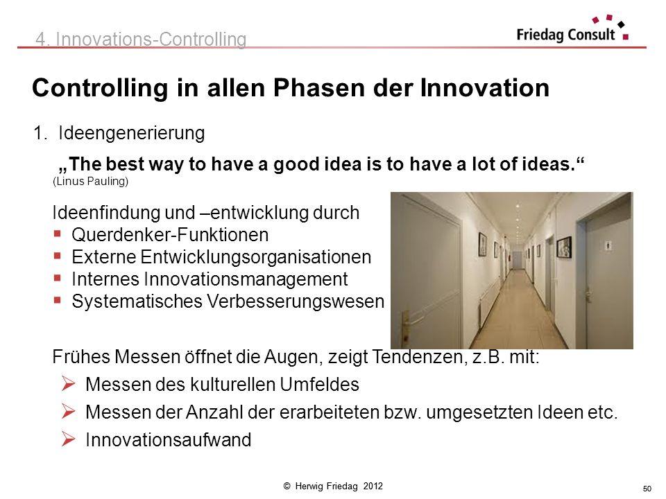 © Herwig Friedag 2012 50 Controlling in allen Phasen der Innovation 4. Innovations-Controlling 1.Ideengenerierung The best way to have a good idea is