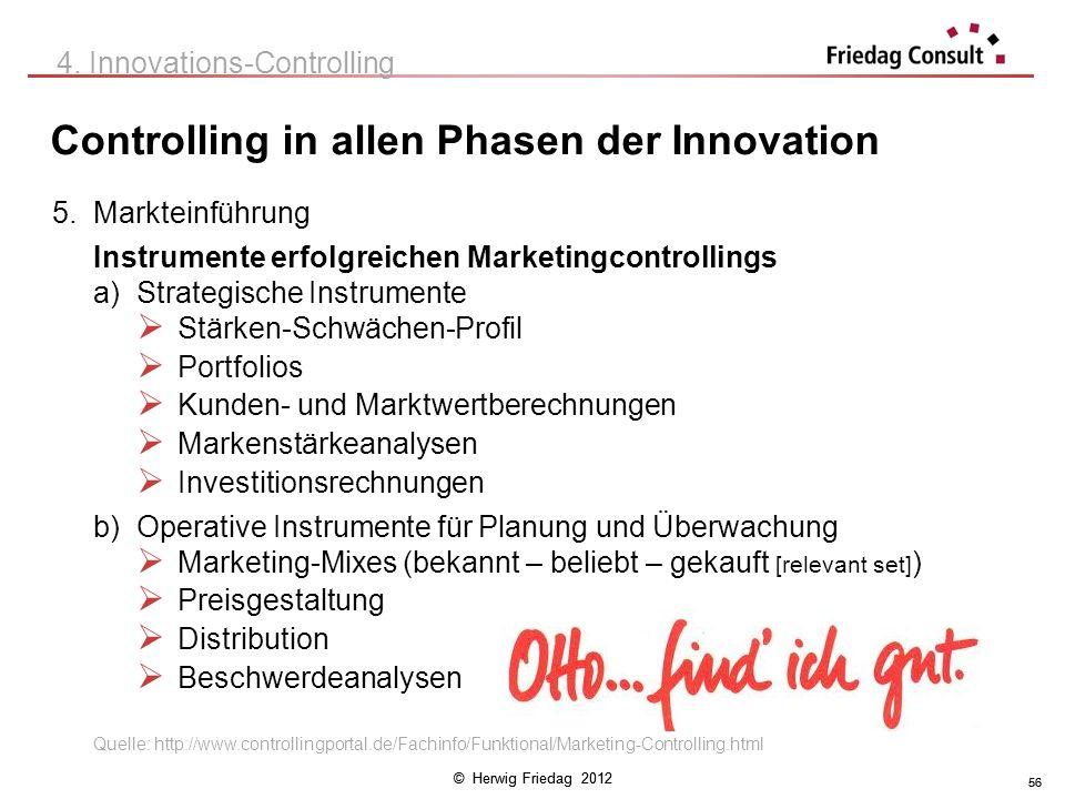 © Herwig Friedag 2012 56 Controlling in allen Phasen der Innovation 4. Innovations-Controlling 5. Markteinführung Instrumente erfolgreichen Marketingc