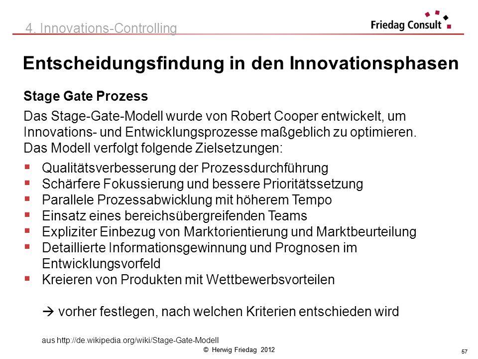 © Herwig Friedag 2012 57 Entscheidungsfindung in den Innovationsphasen 57 4. Innovations-Controlling Stage Gate Prozess Das Stage-Gate-Modell wurde vo