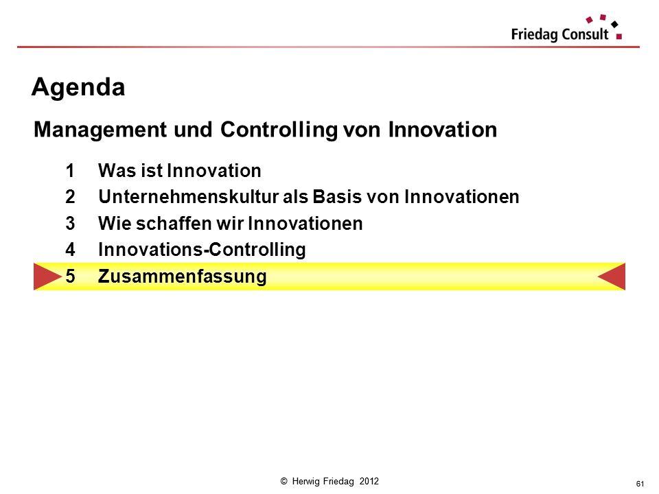 © Herwig Friedag 2012 61 Agenda 1Was ist Innovation 2Unternehmenskultur als Basis von Innovationen 3Wie schaffen wir Innovationen 4Innovations-Control