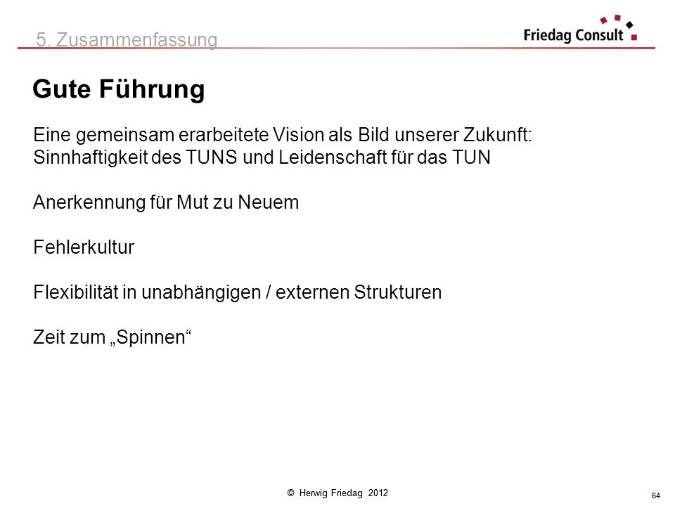© Herwig Friedag 2012 64 Gute Führung 5. Zusammenfassung Eine gemeinsam erarbeitete Vision als Bild unserer Zukunft: Sinnhaftigkeit des TUNS und Leide