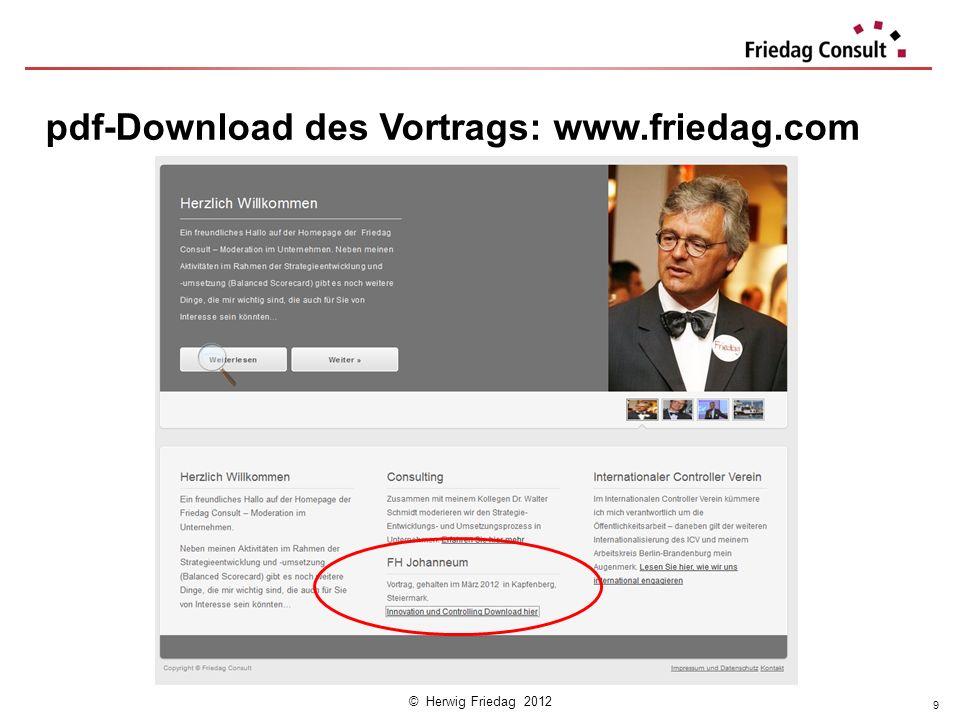 © Herwig Friedag 2012 pdf-Download des Vortrags: www.friedag.com 9