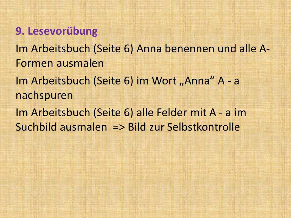 9. Lesevorübung Im Arbeitsbuch (Seite 6) Anna benennen und alle A- Formen ausmalen Im Arbeitsbuch (Seite 6) im Wort Anna A - a nachspuren Im Arbeitsbu