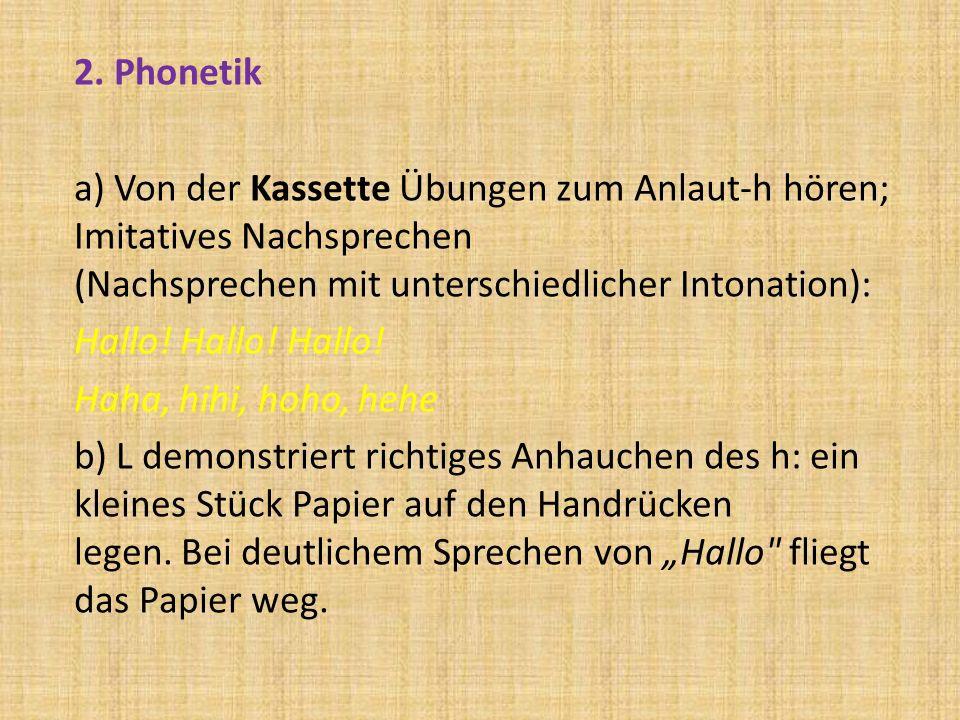 2. Phonetik a) Von der Kassette Übungen zum Anlaut-h hören; Imitatives Nachsprechen (Nachsprechen mit unterschiedlicher Intonation): Hallo! Hallo! Hal
