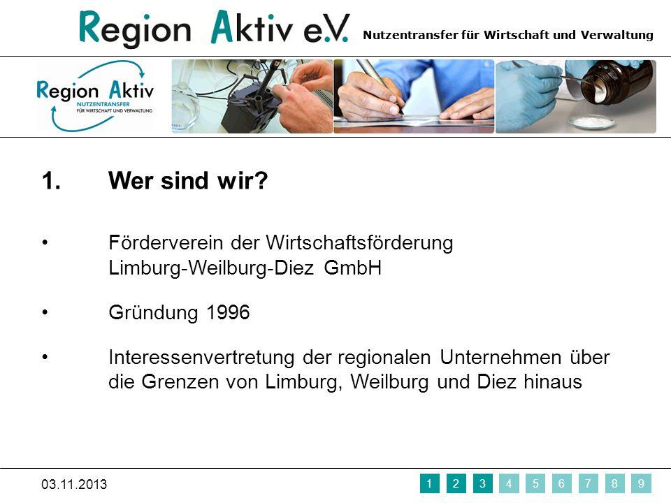 Nutzentransfer für Wirtschaft und Verwaltung 1. Wer sind wir? Förderverein der Wirtschaftsförderung Limburg-Weilburg-Diez GmbH Gründung 1996 Interesse