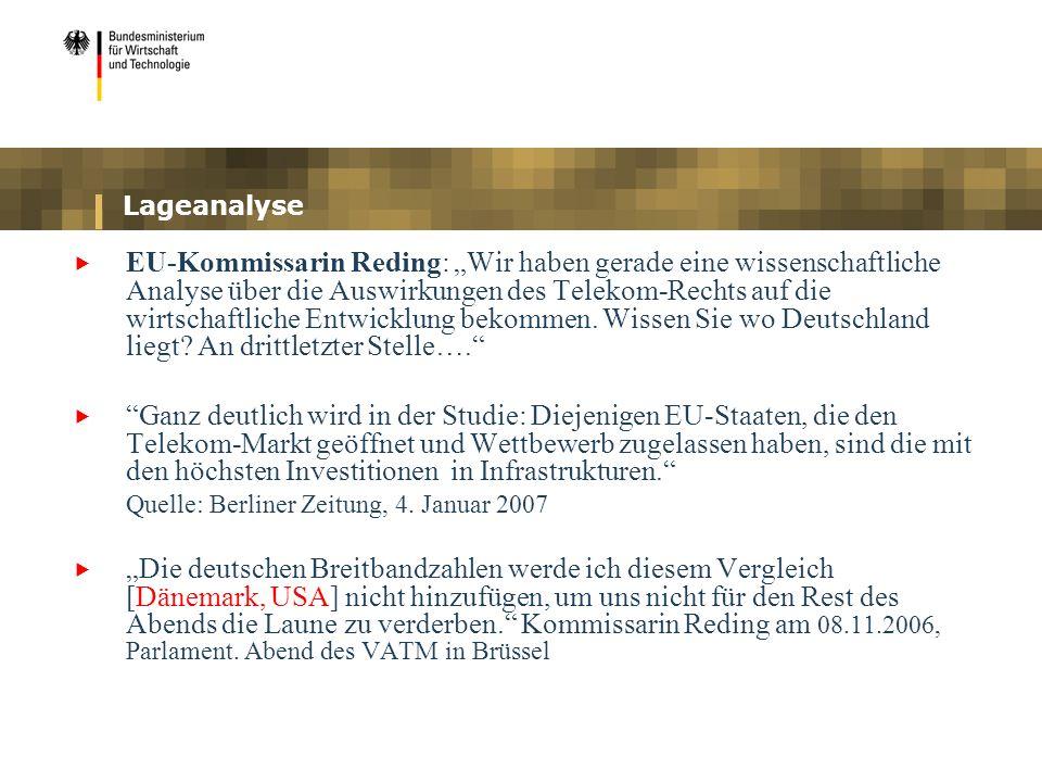 Lageanalyse EU-Kommissarin Reding: Wir haben gerade eine wissenschaftliche Analyse über die Auswirkungen des Telekom-Rechts auf die wirtschaftliche En