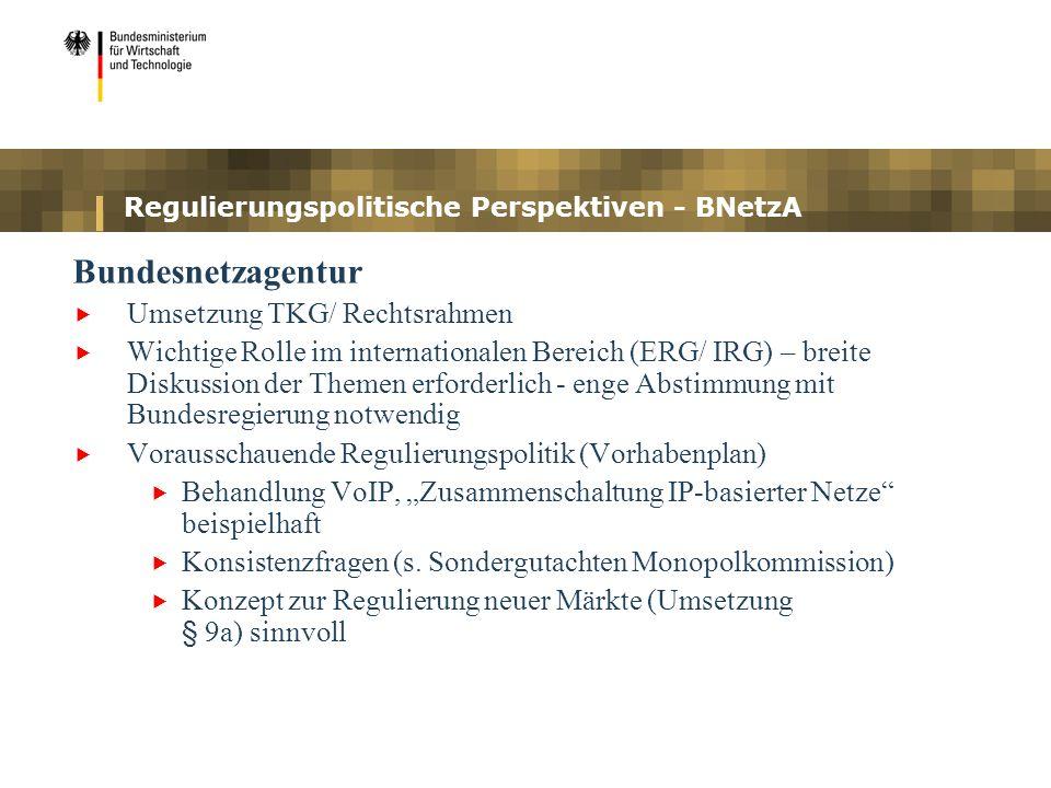Regulierungspolitische Perspektiven - BNetzA Bundesnetzagentur Umsetzung TKG/ Rechtsrahmen Wichtige Rolle im internationalen Bereich (ERG/ IRG) – brei