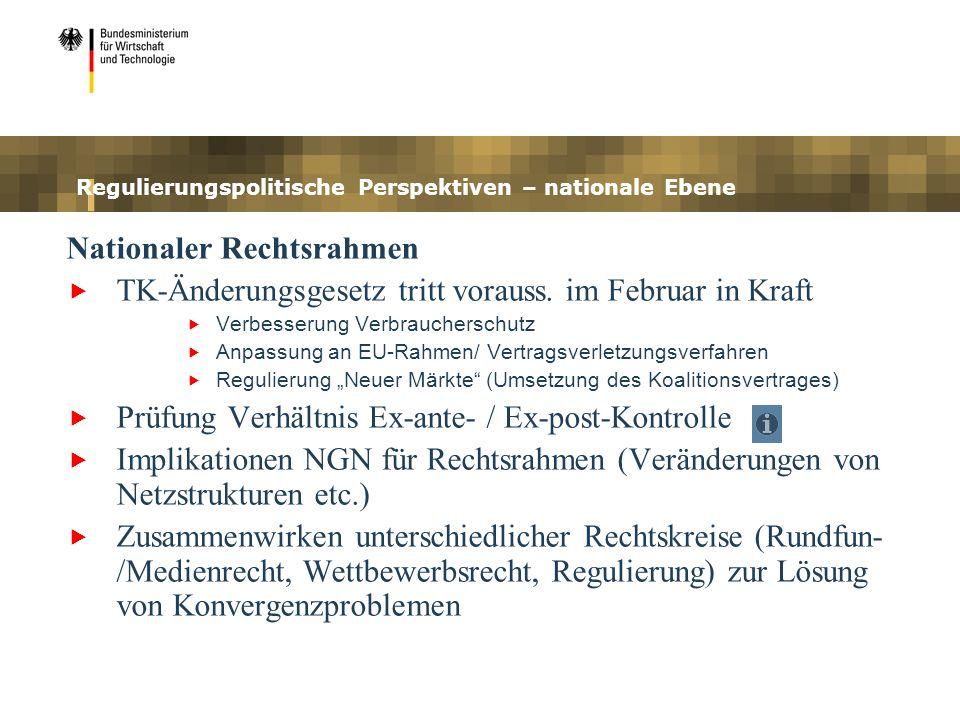 Regulierungspolitische Perspektiven – nationale Ebene Nationaler Rechtsrahmen TK-Änderungsgesetz tritt vorauss. im Februar in Kraft Verbesserung Verbr