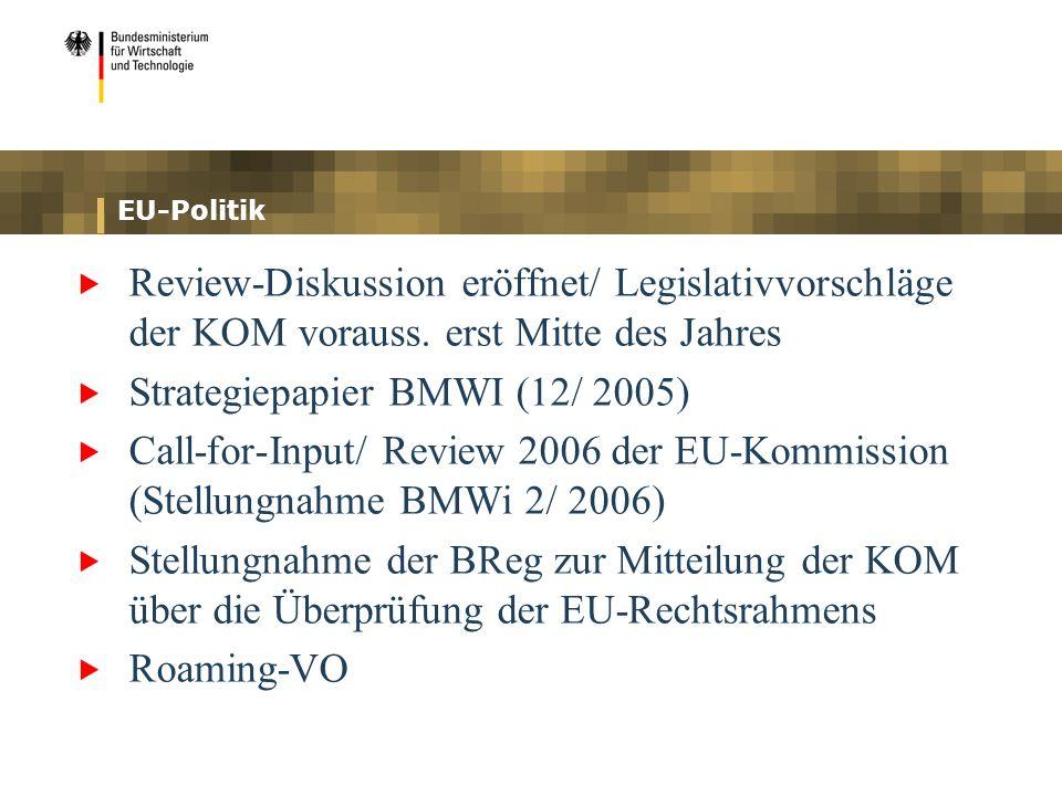 EU-Politik Review-Diskussion eröffnet/ Legislativvorschläge der KOM vorauss. erst Mitte des Jahres Strategiepapier BMWI (12/ 2005) Call-for-Input/ Rev