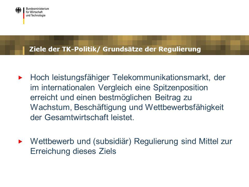 Ziele der TK-Politik/ Grundsätze der Regulierung Hoch leistungsfähiger Telekommunikationsmarkt, der im internationalen Vergleich eine Spitzenposition