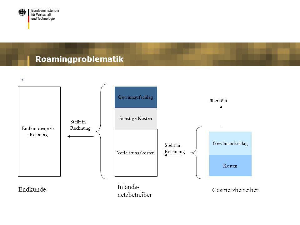 Roamingproblematik. Vorleistungskosten Gewinnaufschlag Sonstige Kosten Gewinnaufschlag Kosten Gastnetzbetreiber Inlands- netzbetreiber Stellt in Rechn