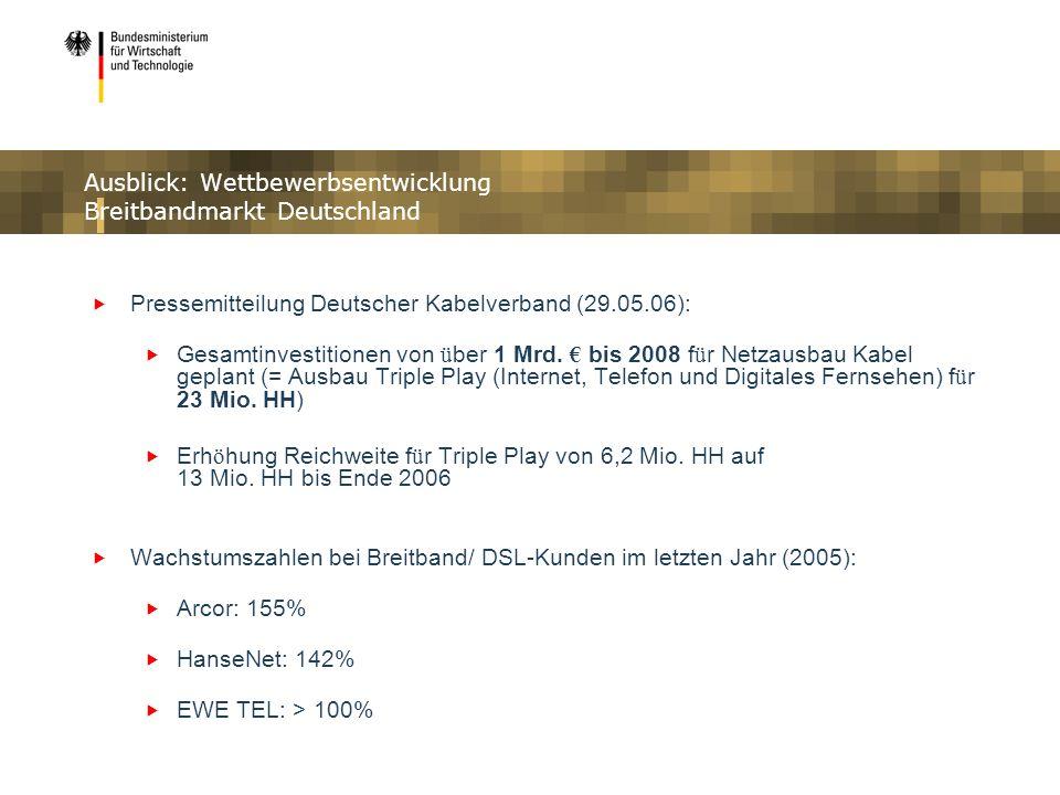 Ausblick: Wettbewerbsentwicklung Breitbandmarkt Deutschland Pressemitteilung Deutscher Kabelverband (29.05.06): Gesamtinvestitionen von ü ber 1 Mrd. b