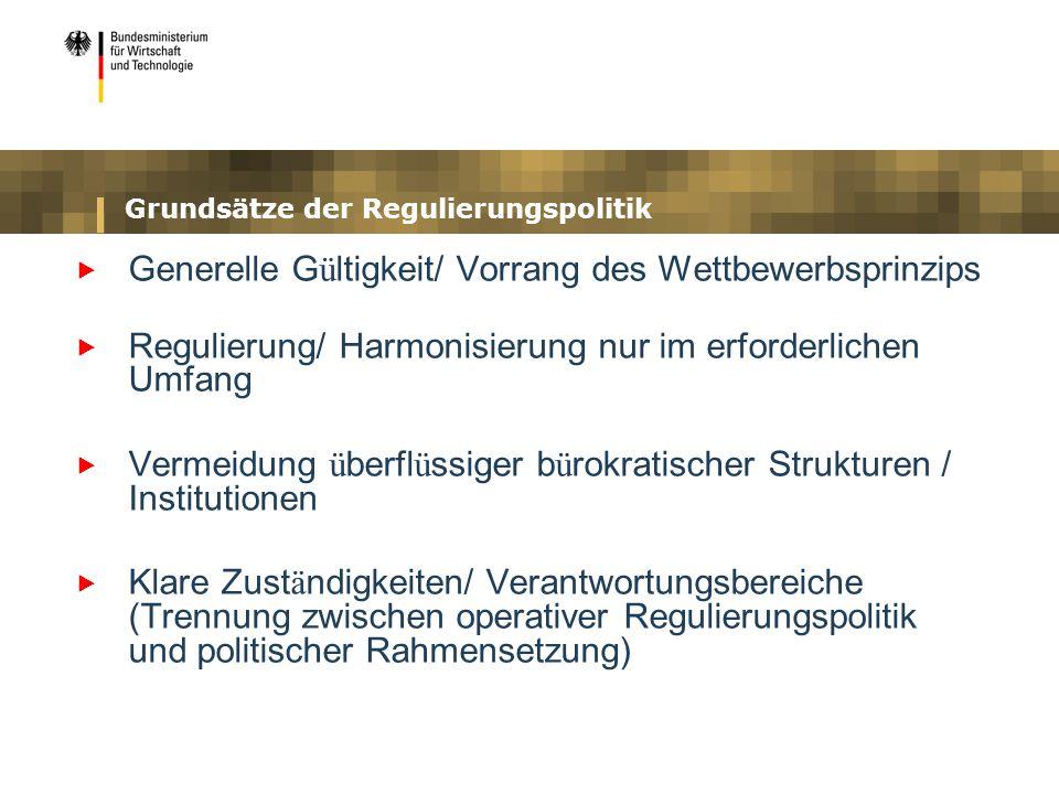 Grundsätze der Regulierungspolitik Generelle G ü ltigkeit/ Vorrang des Wettbewerbsprinzips Regulierung/ Harmonisierung nur im erforderlichen Umfang Ve