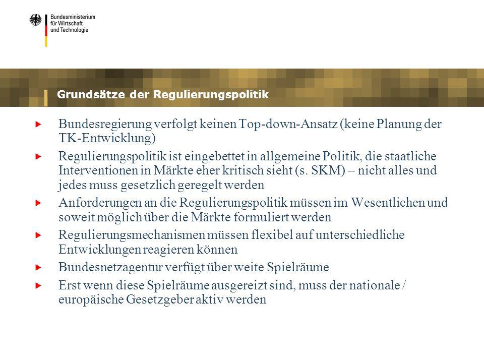 Grundsätze der Regulierungspolitik Bundesregierung verfolgt keinen Top-down-Ansatz (keine Planung der TK-Entwicklung) Regulierungspolitik ist eingebet