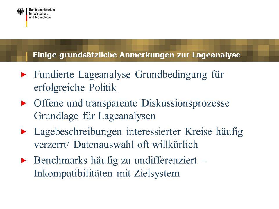 Einige grundsätzliche Anmerkungen zur Lageanalyse Fundierte Lageanalyse Grundbedingung für erfolgreiche Politik Offene und transparente Diskussionspro