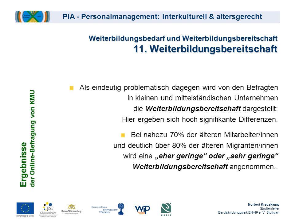 PIA - Personalmanagement: interkulturell & altersgerecht Weiterbildungsbedarf und Weiterbildungsbereitschaft 11. Weiterbildungsbereitschaft Als eindeu