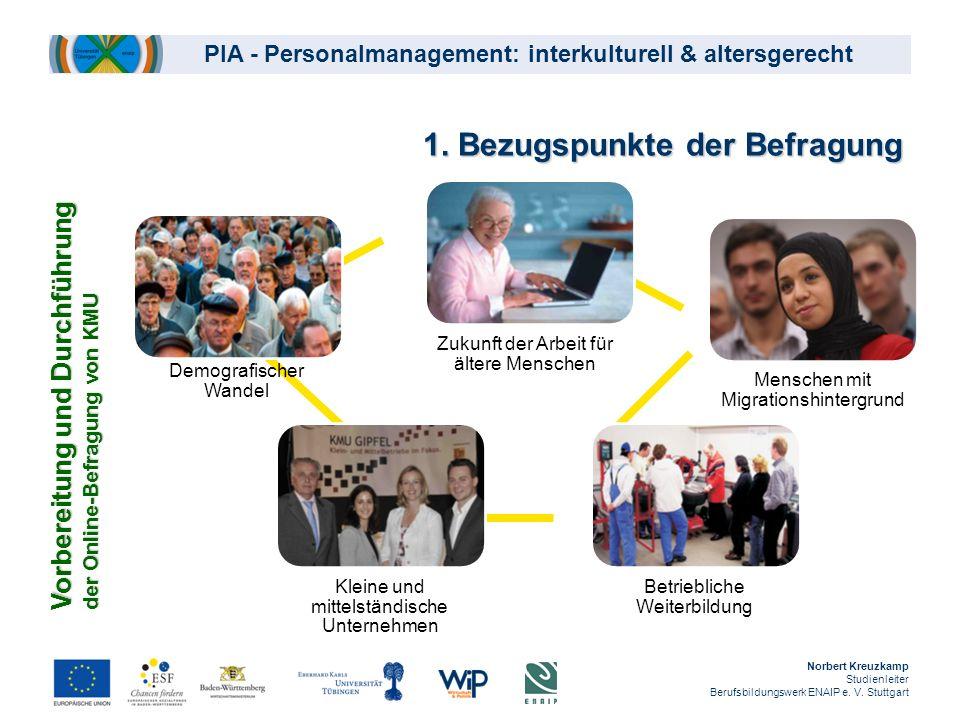 PIA - Personalmanagement: interkulturell & altersgerecht Norbert Kreuzkamp Studienleiter Berufsbildungswerk ENAIP e. V. Stuttgart 1. Bezugspunkte der
