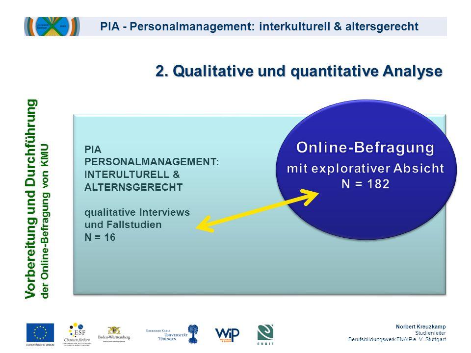 PIA - Personalmanagement: interkulturell & altersgerecht Norbert Kreuzkamp Studienleiter Berufsbildungswerk ENAIP e. V. Stuttgart 2. Qualitative und q