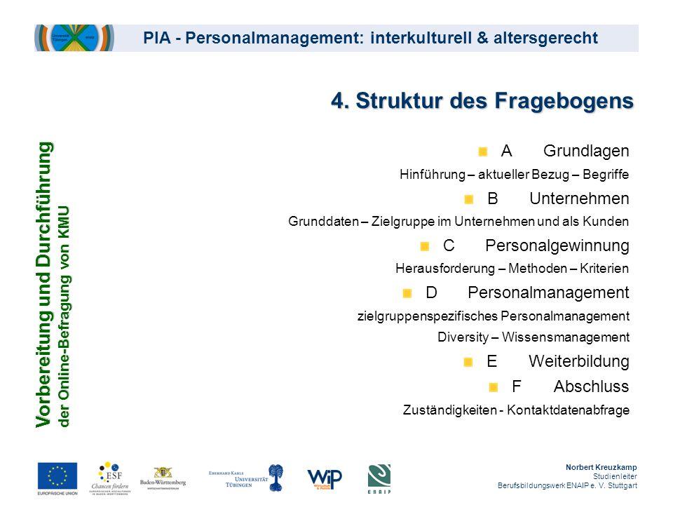 4. Struktur des Fragebogens AGrundlagen Hinführung – aktueller Bezug – Begriffe BUnternehmen Grunddaten – Zielgruppe im Unternehmen und als Kunden CPe