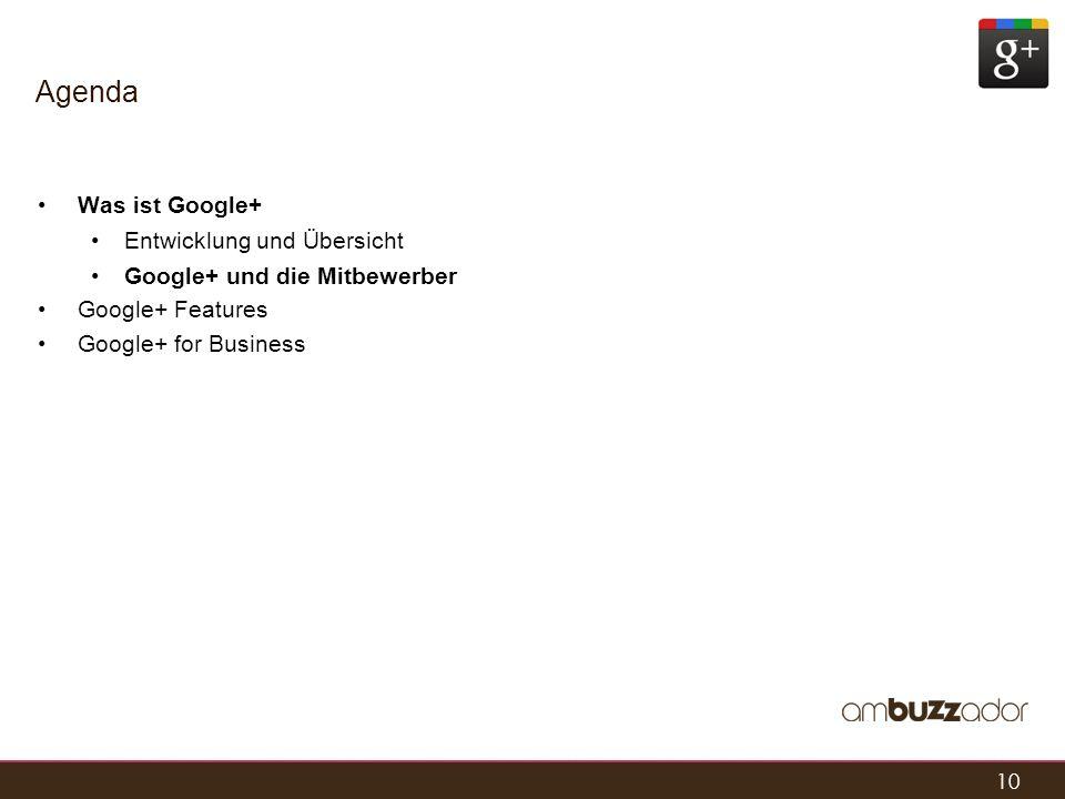 10 Agenda Was ist Google+ Entwicklung und Übersicht Google+ und die Mitbewerber Google+ Features Google+ for Business