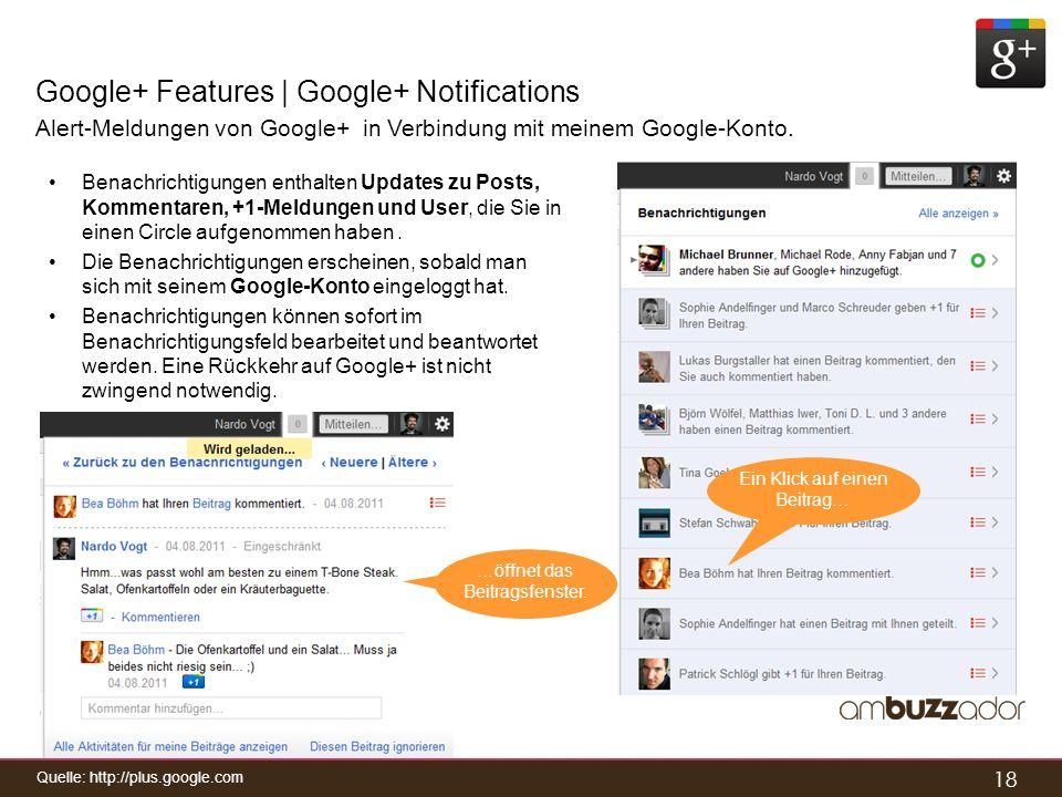 18 Google+ Features | Google+ Notifications Alert-Meldungen von Google+ in Verbindung mit meinem Google-Konto. Benachrichtigungen enthalten Updates zu