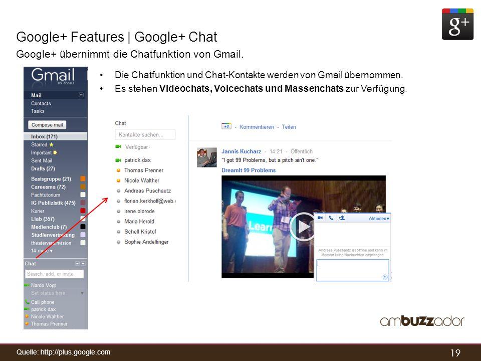 19 Google+ Features | Google+ Chat Google+ übernimmt die Chatfunktion von Gmail. Die Chatfunktion und Chat-Kontakte werden von Gmail übernommen. Es st