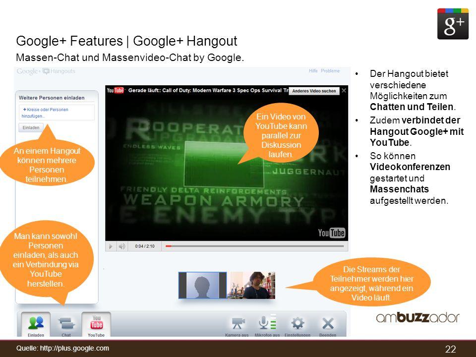 22 Google+ Features | Google+ Hangout Massen-Chat und Massenvideo-Chat by Google. Der Hangout bietet verschiedene Möglichkeiten zum Chatten und Teilen