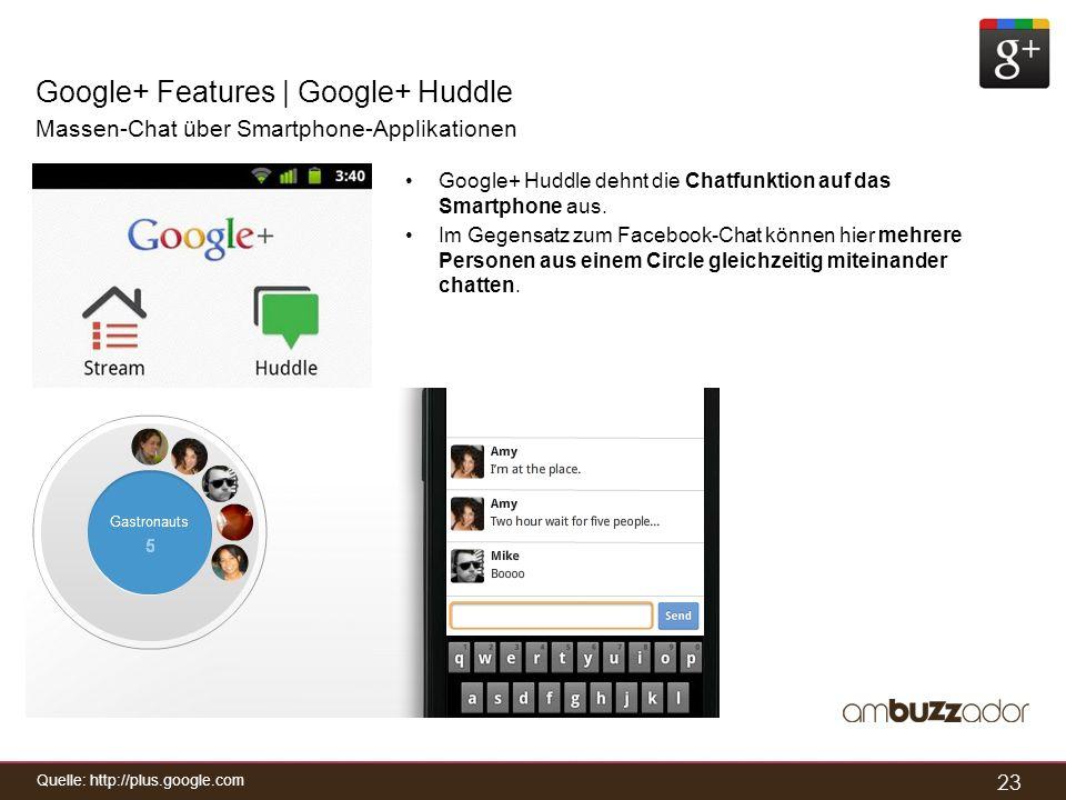23 Google+ Features | Google+ Huddle Massen-Chat über Smartphone-Applikationen Google+ Huddle dehnt die Chatfunktion auf das Smartphone aus. Im Gegens