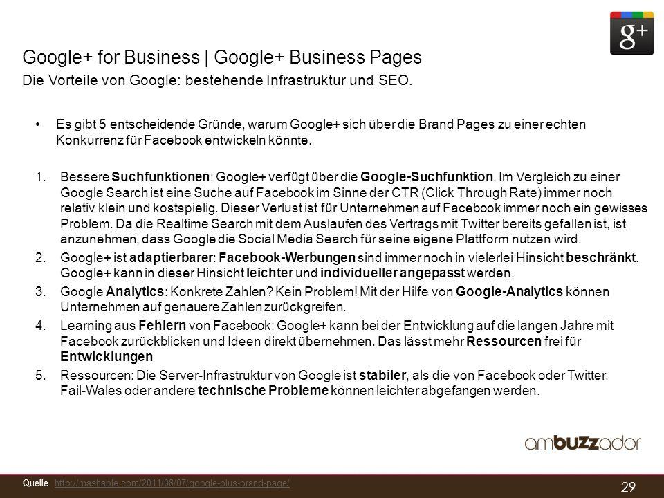 29 Google+ for Business | Google+ Business Pages Die Vorteile von Google: bestehende Infrastruktur und SEO. Es gibt 5 entscheidende Gründe, warum Goog