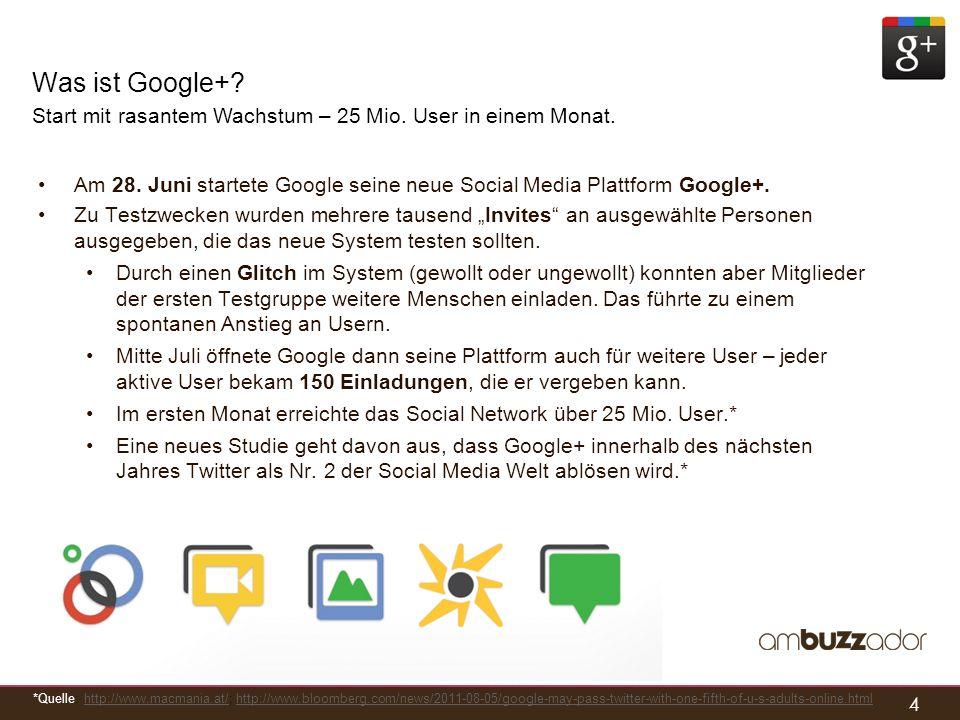 4 Was ist Google+? Start mit rasantem Wachstum – 25 Mio. User in einem Monat. Am 28. Juni startete Google seine neue Social Media Plattform Google+. Z