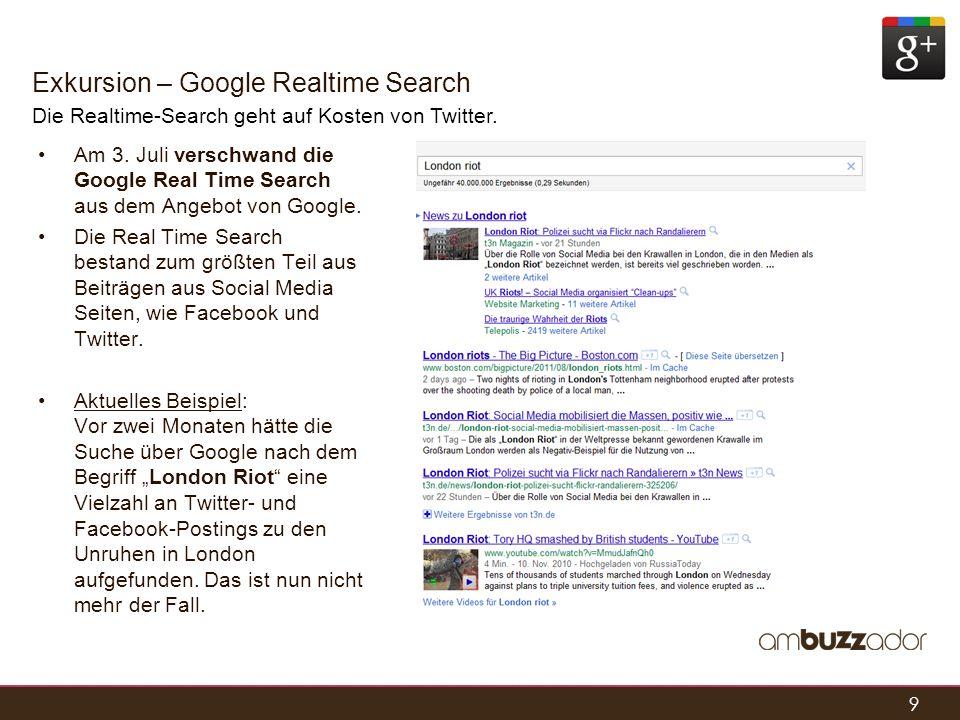 9 Exkursion – Google Realtime Search Die Realtime-Search geht auf Kosten von Twitter. Am 3. Juli verschwand die Google Real Time Search aus dem Angebo
