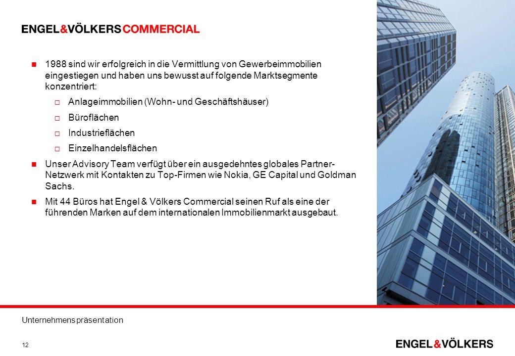 Unternehmenspräsentation 12 1988 sind wir erfolgreich in die Vermittlung von Gewerbeimmobilien eingestiegen und haben uns bewusst auf folgende Marktse