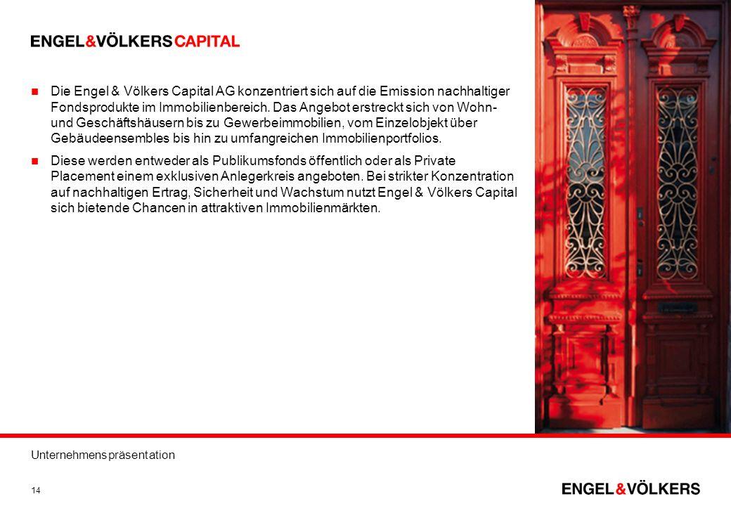 Unternehmenspräsentation 14 Die Engel & Völkers Capital AG konzentriert sich auf die Emission nachhaltiger Fondsprodukte im Immobilienbereich. Das Ang