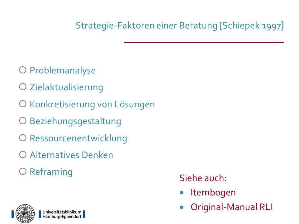 Strategie-Faktoren einer Beratung [Schiepek 1997 ] Problemanalyse Zielaktualisierung Konkretisierung von Lösungen Beziehungsgestaltung Ressourcenentwi