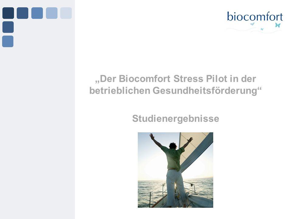 Der Biocomfort Stress Pilot in der betrieblichen Gesundheitsförderung Studienergebnisse
