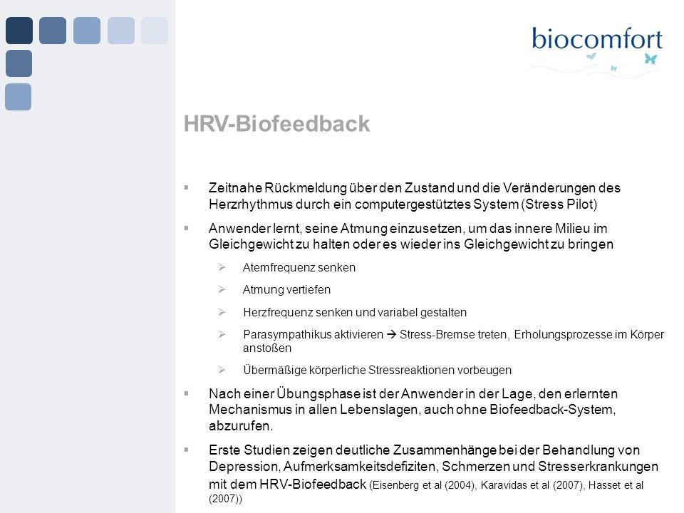 HRV-Biofeedback Zeitnahe Rückmeldung über den Zustand und die Veränderungen des Herzrhythmus durch ein computergestütztes System (Stress Pilot) Anwend