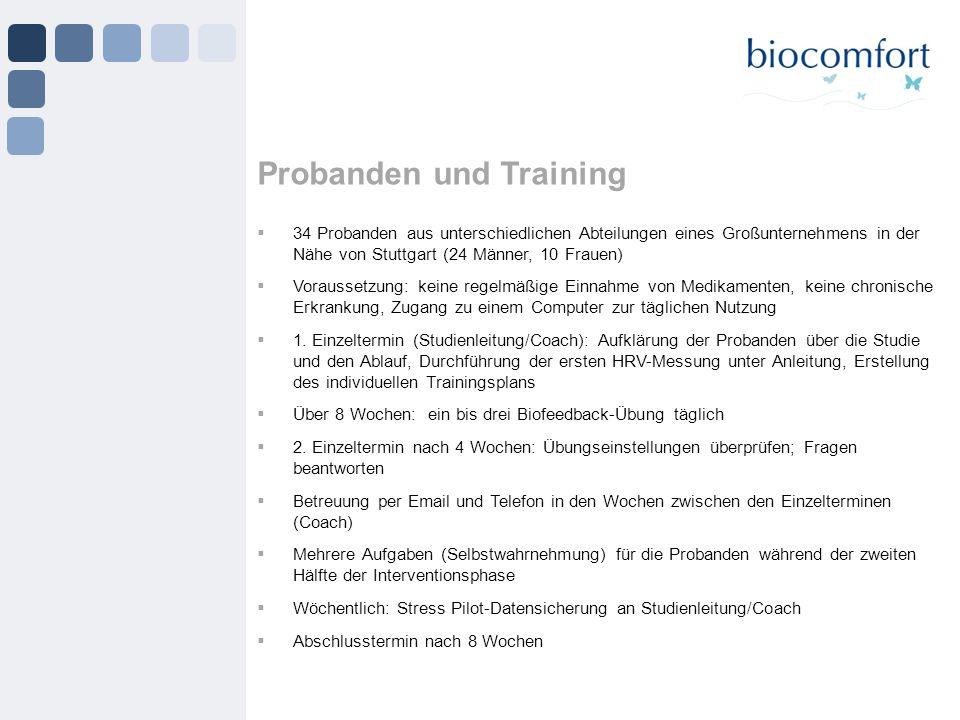 34 Probanden aus unterschiedlichen Abteilungen eines Großunternehmens in der Nähe von Stuttgart (24 Männer, 10 Frauen) Voraussetzung: keine regelmäßig
