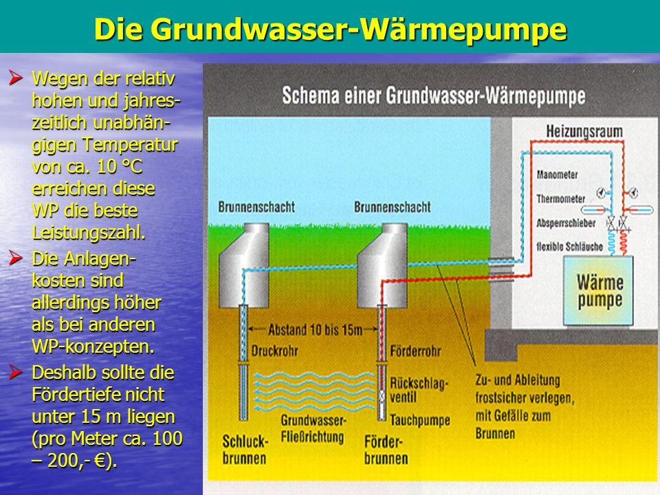 11 Die Grundwasser-Wärmepumpe Wegen der relativ hohen und jahres- zeitlich unabhän- gigen Temperatur von ca. 10 °C erreichen diese WP die beste Leistu