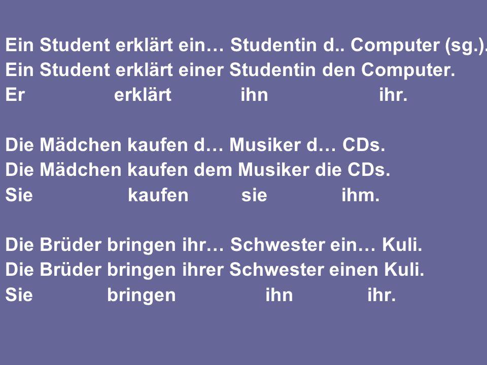 Ein Student erklärt ein… Studentin d.. Computer (sg.).
