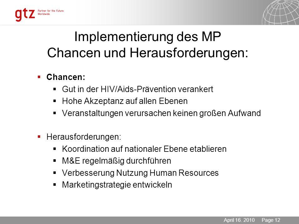 03.11.2013 Seite 12 Page 12April 16. 2010 Implementierung des MP Chancen und Herausforderungen: Chancen: Gut in der HIV/Aids-Prävention verankert Hohe