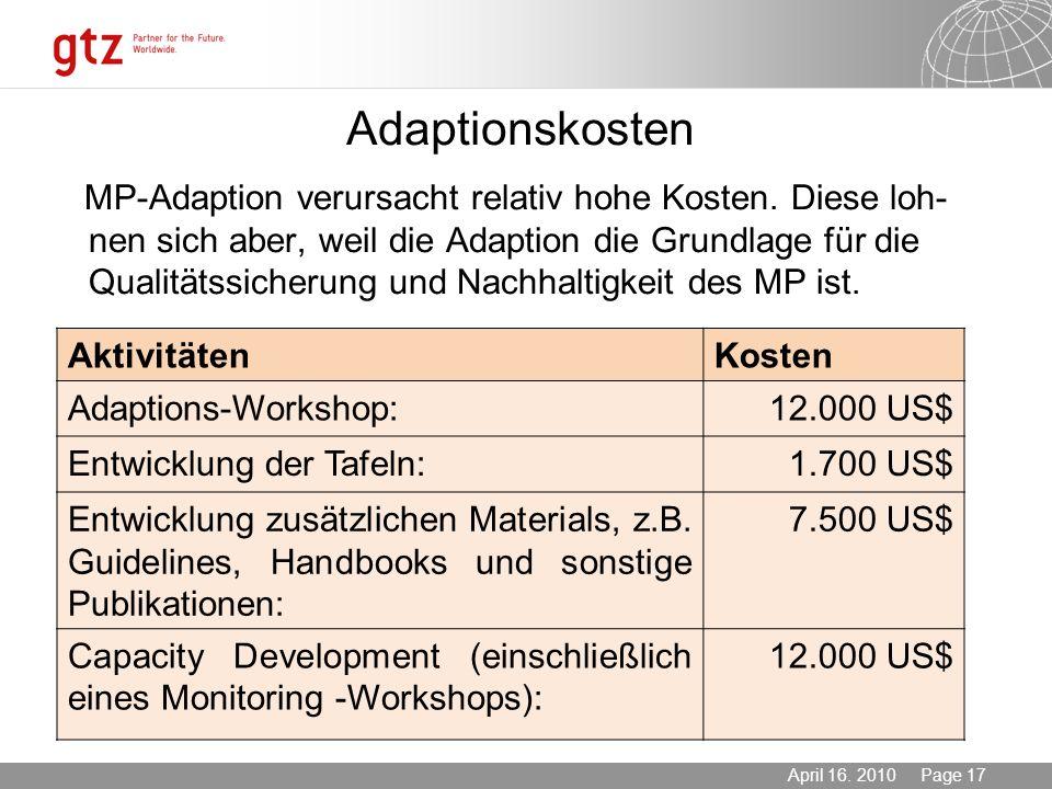 03.11.2013 Seite 17 Page 17April 16. 2010 Adaptionskosten MP-Adaption verursacht relativ hohe Kosten. Diese loh- nen sich aber, weil die Adaption die